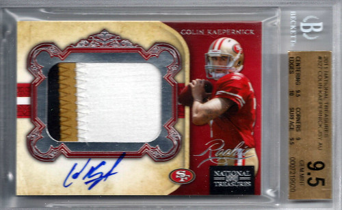 2011 Playoff National Treasures #327 Colin Kaepernick JSY AU RC (12 of 99) BGS 9.5