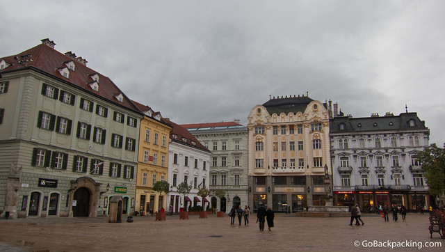 Colorful buildings mark the historic city center