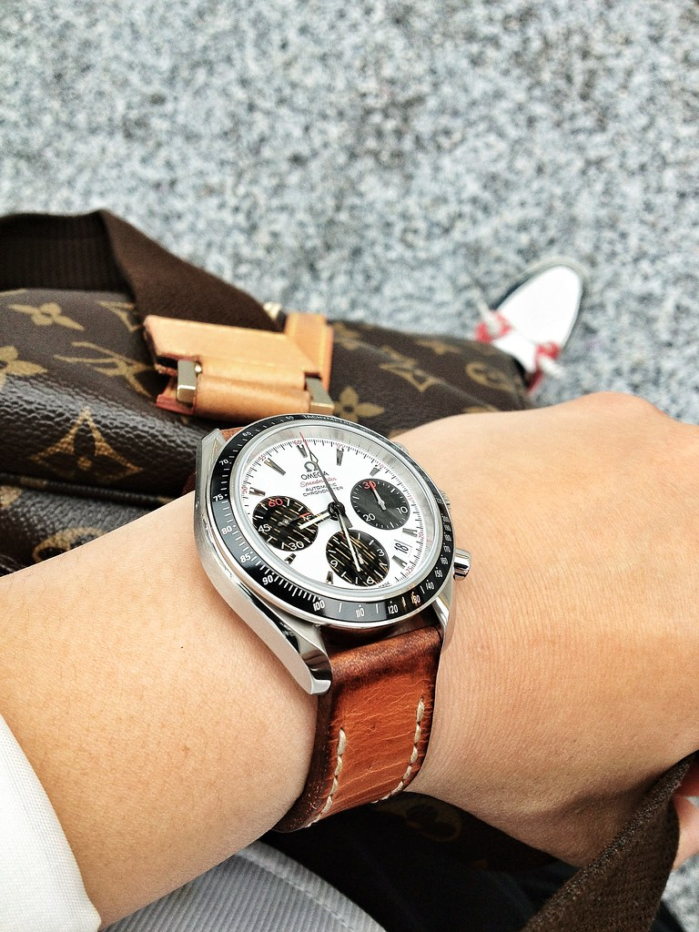 Omega Panda watch on tan bas and lokes handmade leather watch strap
