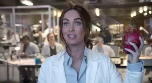Megan Fox in a lab coat