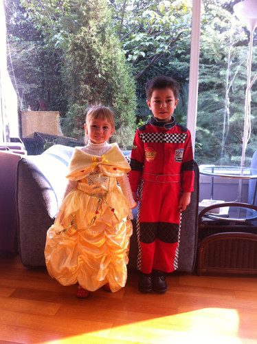 Princess Elaine and race car driver Scott before going to school during Halloween 2012