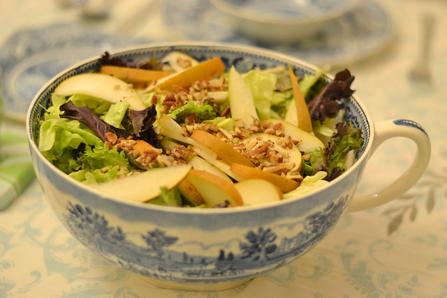 Fall salad (it's only fall because it has a gold colored pear in it...)