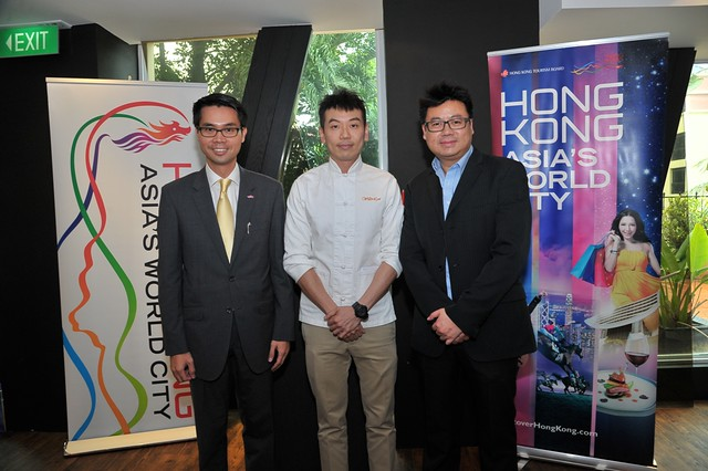 (L to R): Mr Fong Ngai, Director of Hong Kong Economic and Trade Office (ASEAN), Chef Willin Low of Wild Rocket and Mr Simon Wong, Regional Director of Hong Kong Tourism Board, Southeast Asia (photo provided by Hong Kong Tourism Board)