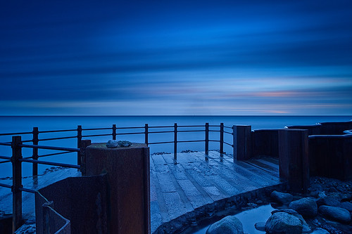 ocean longexposure blue winter sunset sea cloud seascape tourism nature water stone clouds concrete skåne nikon view sweden steel south famous location sverige havet hav skane smygehuk skaane leefilter distagont2821 bigstopper mygearandme mygearandmepremium d800e