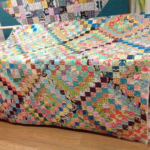 quilted ... now to find some binding :) #scrappytripalong