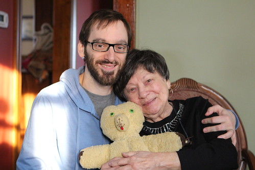 Nate with Auntie Vi and Teddy Bear