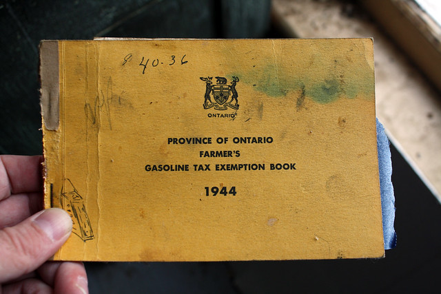 Province of Ontario Farmer's Gasoline Tax Exemption Book 1944