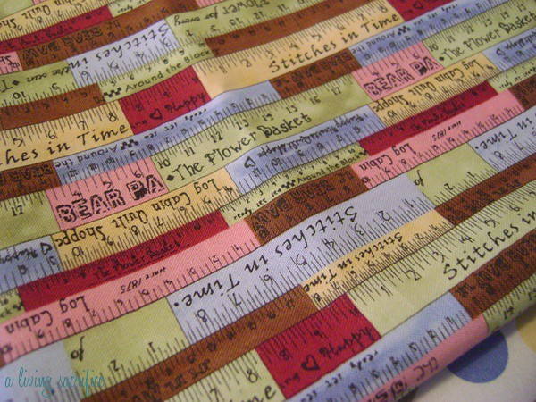 close up of ruler fabric