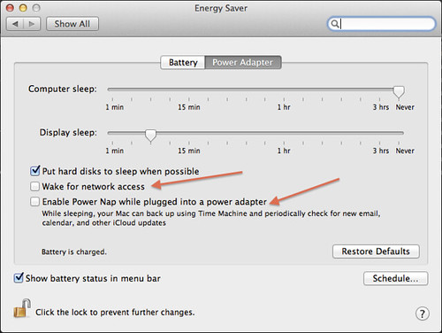 Prevent Macbook waking up