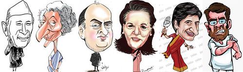 Nehru, Indira Gandhi, Rajiv Gandhi, Sonia Gandhi, Priyanka Gandhi, Rahul Gandhi cartoon picture