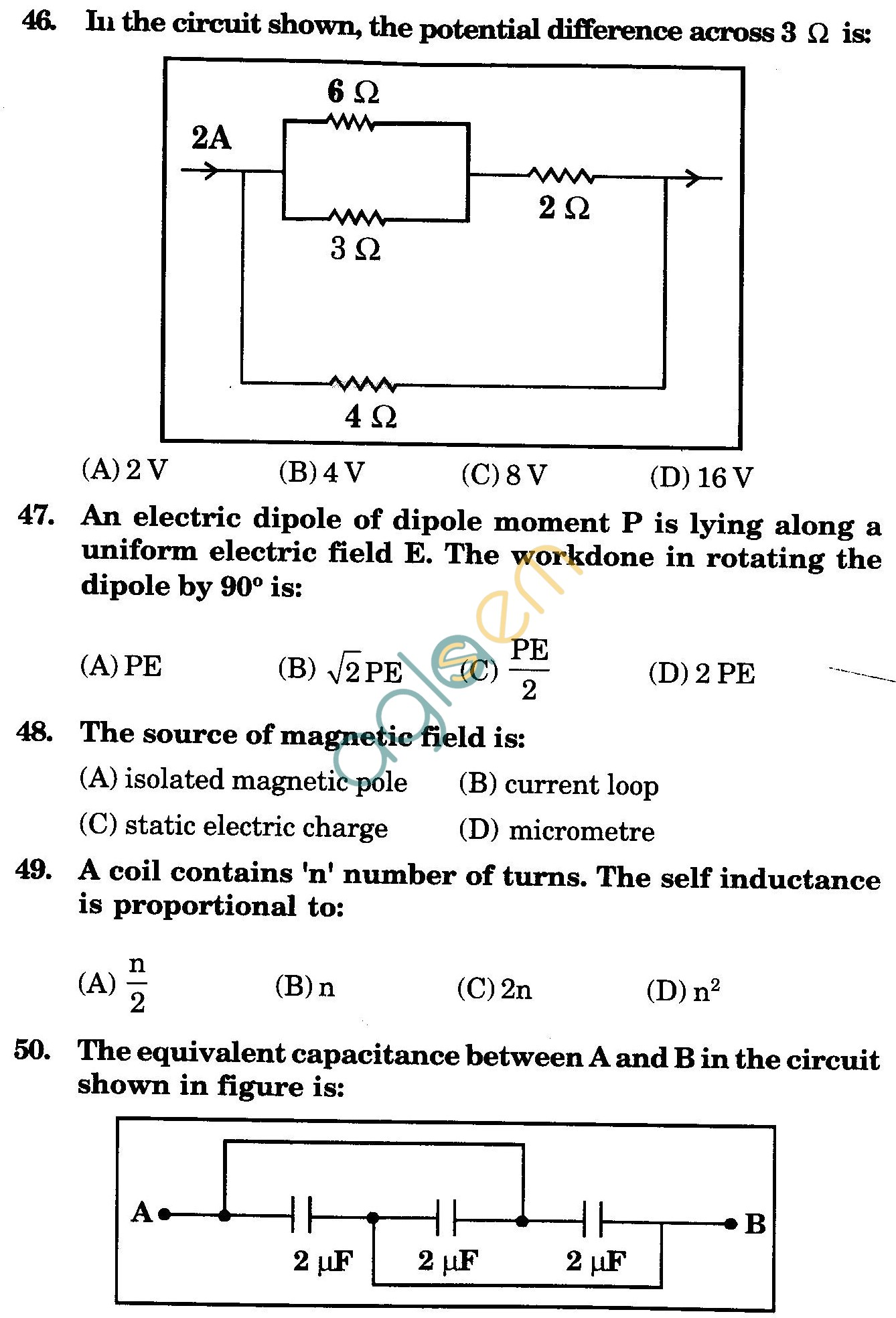 NSTSE 2009 Class XII PCB Question Paper with Answers - Physics