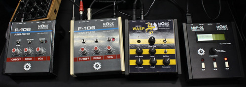 Mode Machines Juno 106 filter, Wasp Filter replica, and MAP-01 Arpeggiator by Switched On Austin