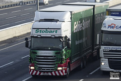 Scania R440 6x4 Curtainside with Drawbar Curtainside Trailer - PE61 KOU - Libby Rose - Green & Red - Eddie Stobart - M1 J10 Luton - Steven Gray - IMG_0808