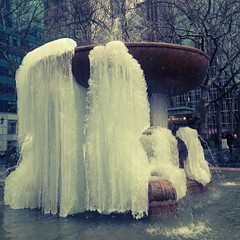 half-frozen fountain