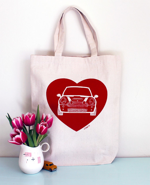 mini cooper love heart tote bag handmade by vitamini