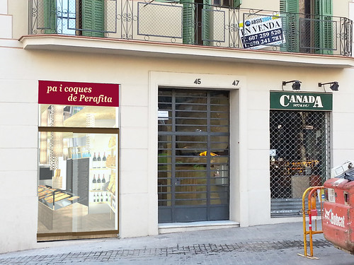 Render de la imatge exterior de l'establiment, que dóna molt visibilitat a la imatge de marca, tant de les coques de Perafita com de Forn Franquesa.