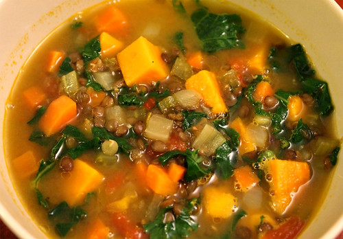 Lentil, Sweet Potato and Kale Soup