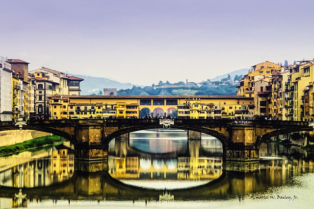 Digital Color Pen and Ink Drawing of the Ponte Vecchio in Florence by Charles W. Bailey, Jr.