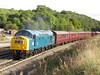 Class 40 345 40145 TNT 57313 on 1Z47  Buxton - Bury at Dove Holes 30/09/2016