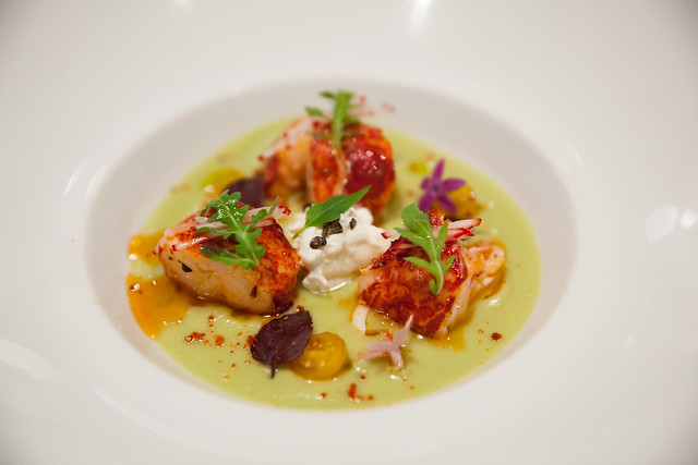 Lobster, avocado coulis with spicy oil and burrata