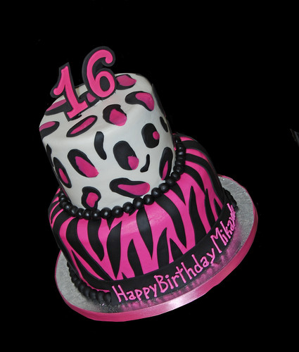 pink and black zebra and cheetah print sweet 16 birthday cake