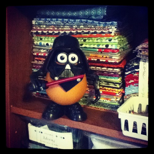 Darth Tater is guarding my fabric stash.  #mrpotatoeheadisreadyforhalloween