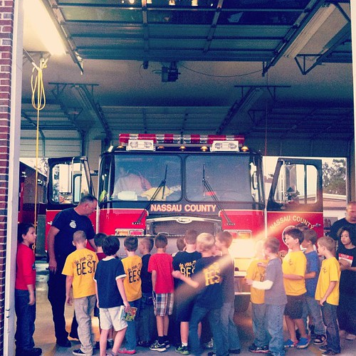 Eager to learn #cubscouts! #cubscout #firestation