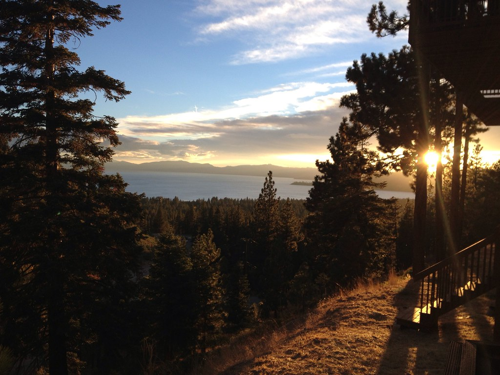 Sun setting over Lake Tahoe