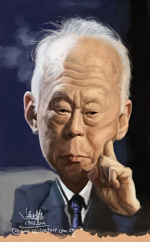 digital caricature of Lee Kuan Yew 李光耀