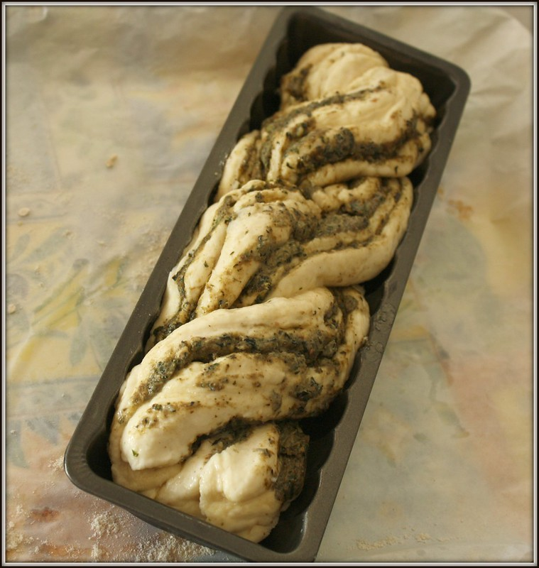 braided pesto bread dough