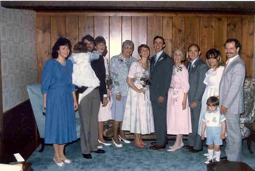 L to R: Toni Lothrop, Aimee Lothrop, Chuck Lothrop, Sarah Lothrop, Janet (Mum) Lothrop, Rebecca Crowell, Paul Crowell, Eleanor (Mom) Crowell, Elmer (Dad) Crowell, Leslie (Crowell) Barry, Patrick Barry, and Paul Barry