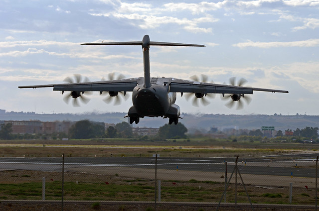 Airbus A400M landing in Seville