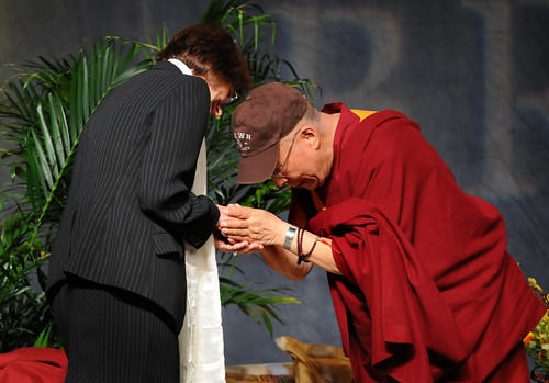 Brown University president Christina Paxson and His Holiness the Dalai Lama
