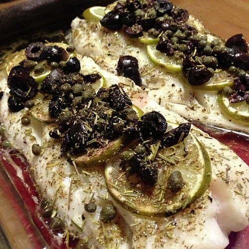 Finished dish: cod with olives, capers, lime and rosemary