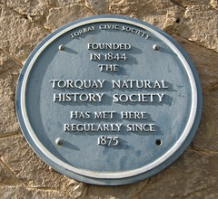 Photo of Torquay Natural History Society blue plaque