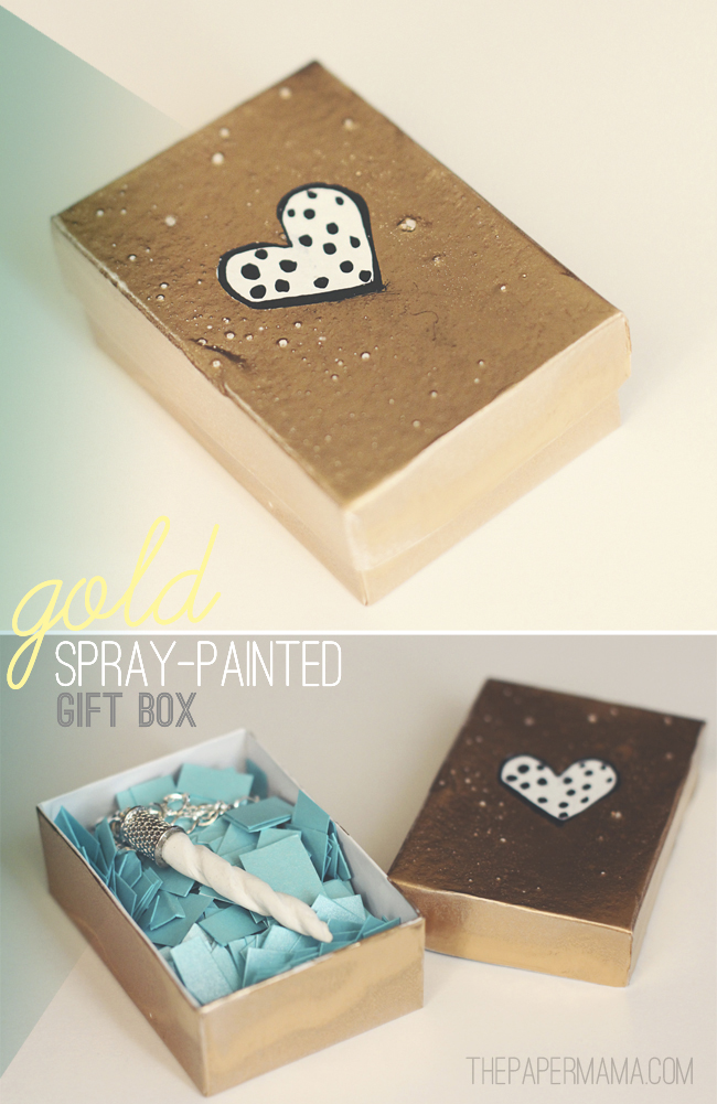 Spray Painted Gold Gift Box DIY