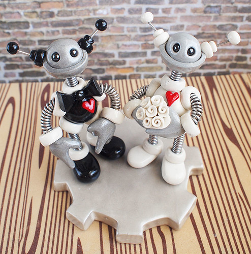 Robot Wedding Cake Topper | Round Plump Classic Colors by HerArtSheLoves