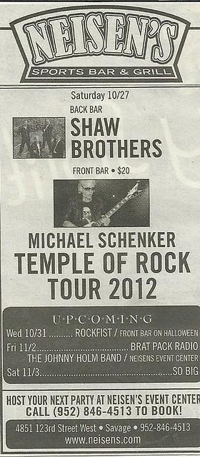 10/27/12 Michael Schenker @ Neisen's, Savage, MN