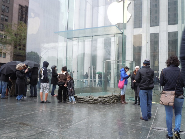 Apple store is closed with sandbags
