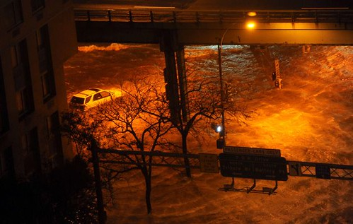 Streets flooded in Manhattan due to the impact of Hurricane Sandy which devastated the eastern seaboard leaving dozens known dead and millions without power. Will the US ruling class now take climate change seriously? by Pan-African News Wire File Photos