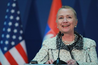 Secretary Clinton Addresses Reporters