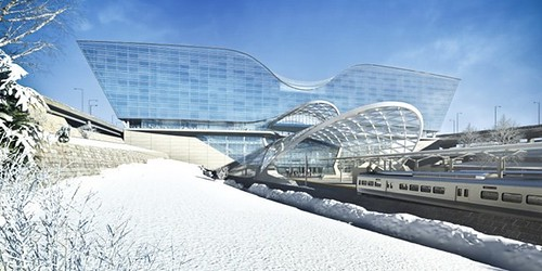 Rendering of Airport Train Station and Hotel in Winter