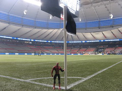 Spider-Man on Bell Pitch at BC Place on the north side