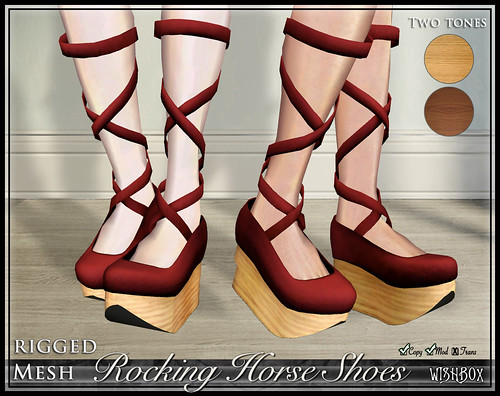 Rocking Horse Shoes from Wishbox in Second Life (Red)