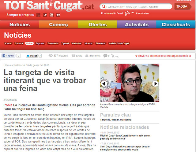 Artículo en la web - TotSantCugat.cat (15.01.2013) - Catalan