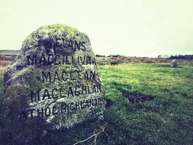 Stone marker at Culloden battlefield