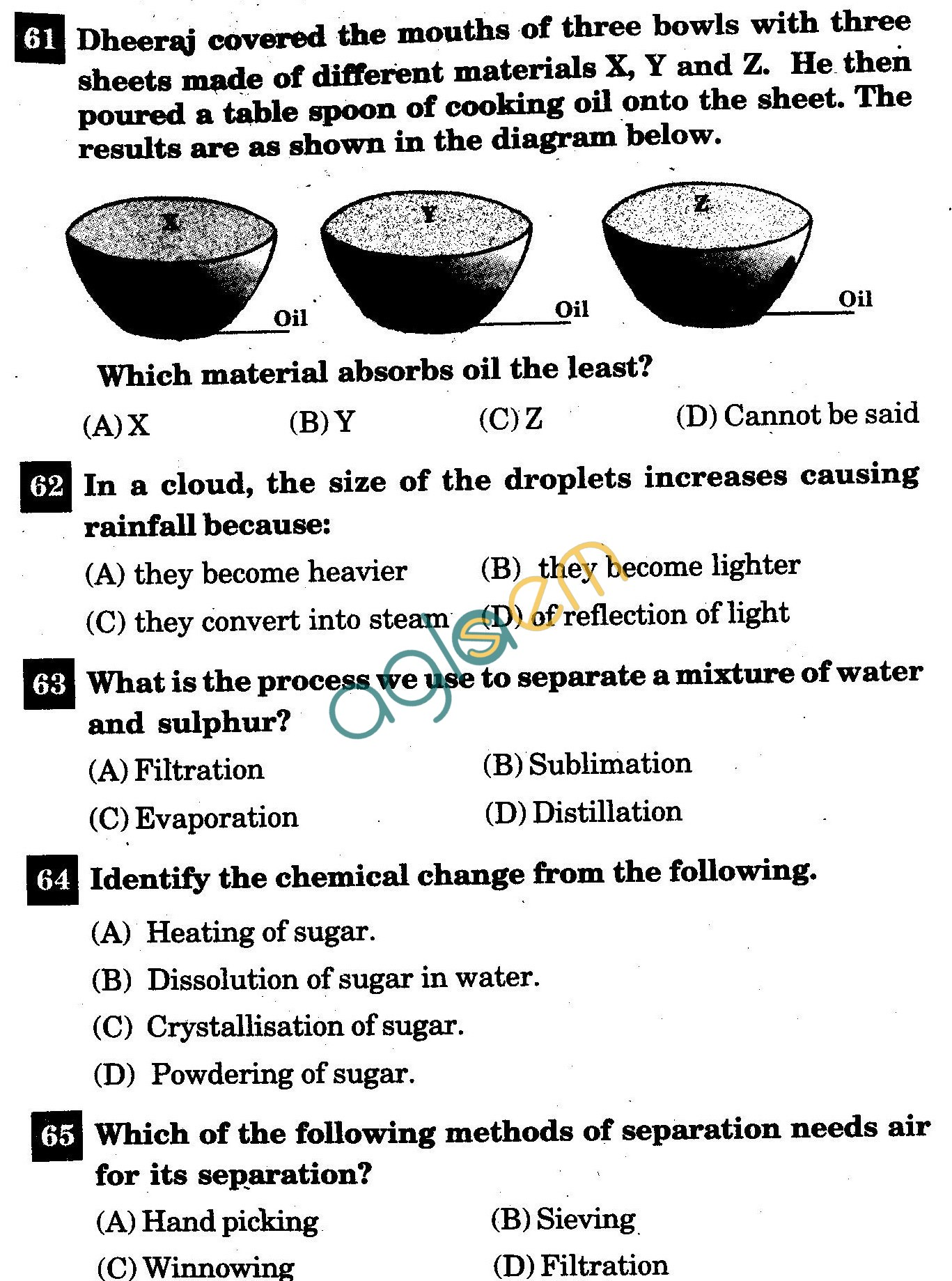NSTSE 2011: Class VI Question Paper with Answers - Chemistry