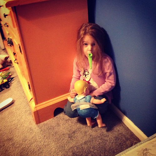 "Creepy, sitting in corner playing, ""What's gonna work, team work"" on the kazoo. #YoungestArePsycho"