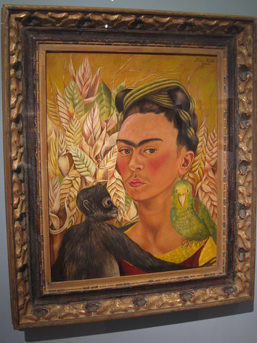 Frida Kahlo: Self-portrait with monkey and parrot