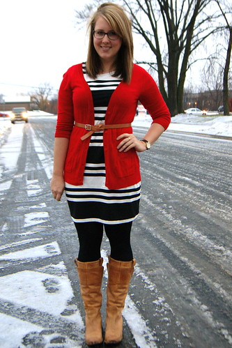Red Cardigan, Striped Dress